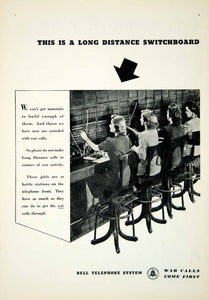 1942 Ad Bell Telephone System Wartime Operators Telecommunications YNM2
