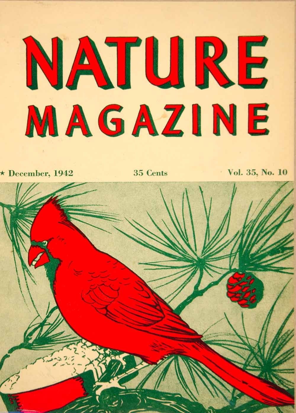 1942 Cover Lithograph Nature Red Cardinal Bird Rosalie Rees Art Wildlife YNM5