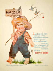 1922 Ad Vintage Cream of Wheat Cereal Barefoot Boy Fishing John G Scott Art YNM6