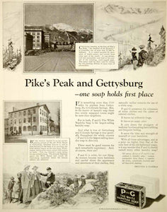 1924 Ad P & G White Naphtha Laundry Soap Pikes Peak Gettysburg Wills House YNM6