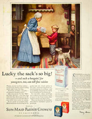 1926 Ad Norman Rockwell Art Sun Maid Raisins Grandmother Boy Dog Child Period Paper
