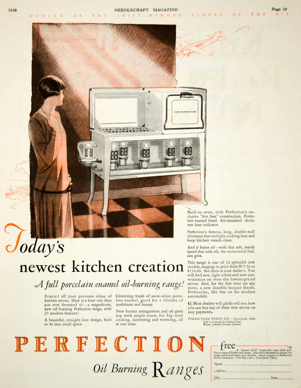 1928 Ad Perfection Oil Burning Range Porcelain Enamel Oven Stove Kitchen YNM6