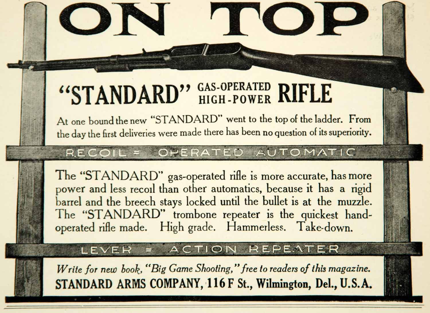 1910 Ad Standard Gas Operated High Power Repeater Rifle 116 F St Wilmington YNS1