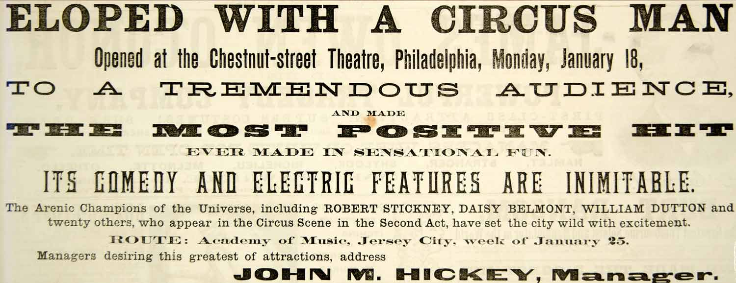 1886 Booking Ad Eloped with a Circus Man Theatre Stage Play Robert Stickney YNY1