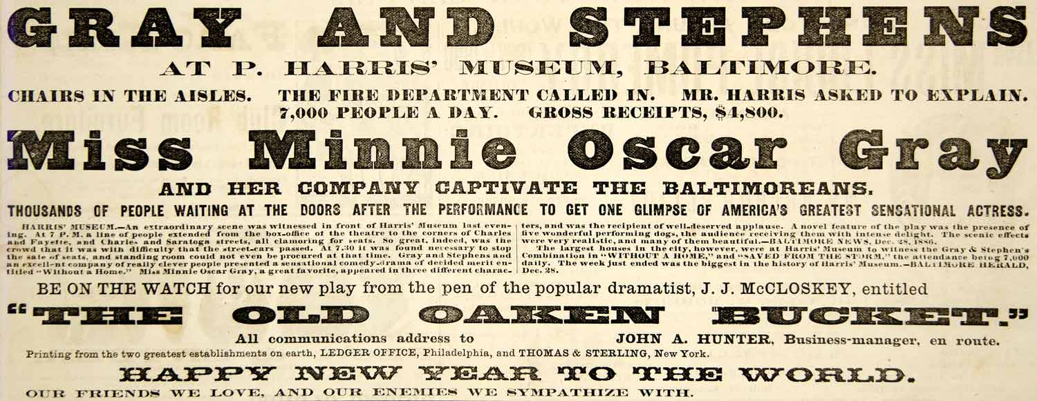 1887 Ad Harris Museum Baltimore Theatre Acts Minnie Oscar Gray Stephens YNY1