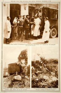1914 Rotogravure World War I Russian Red Cross Ambulance Warsaw Wounded YNY2