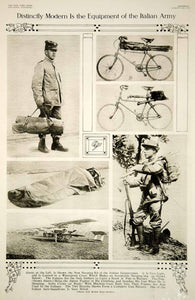 1915 Rotogravure WWI Italian Army Infantryman Equipment Bicycles Gun Plane YNY2