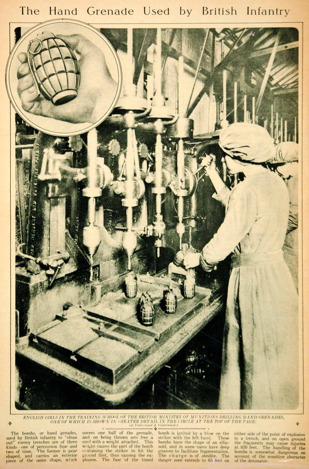 1917 Rotogravure WWI British Hand Grenade Manufacture Women Worker Weapons YNY3