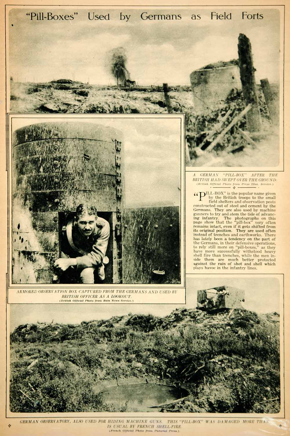 1917 Rotogravure WWI German Pillbox Military Field Fort Observation Post YNY3