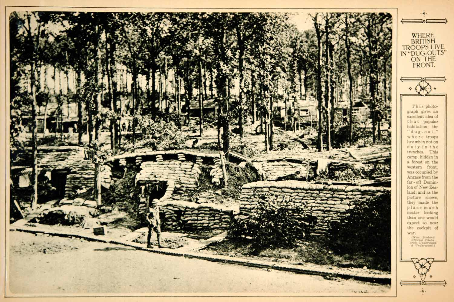 1917 Rotogravure World War I British Camp Western Front Dugout Huts Housing  YNY3