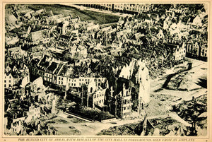 1917 Rotogravure World War I Arras France City Ruins Aerial Bird's Eye View YNY3