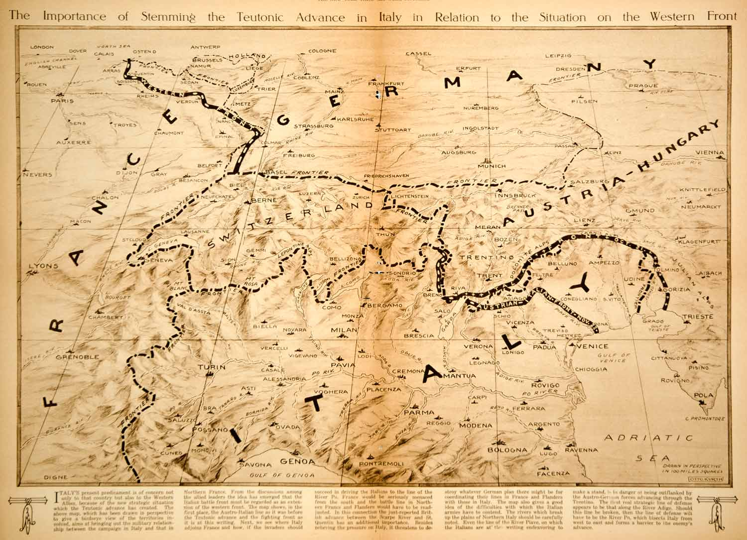 1917 Rotogravure Map World War I Italy Battle Front France Germany