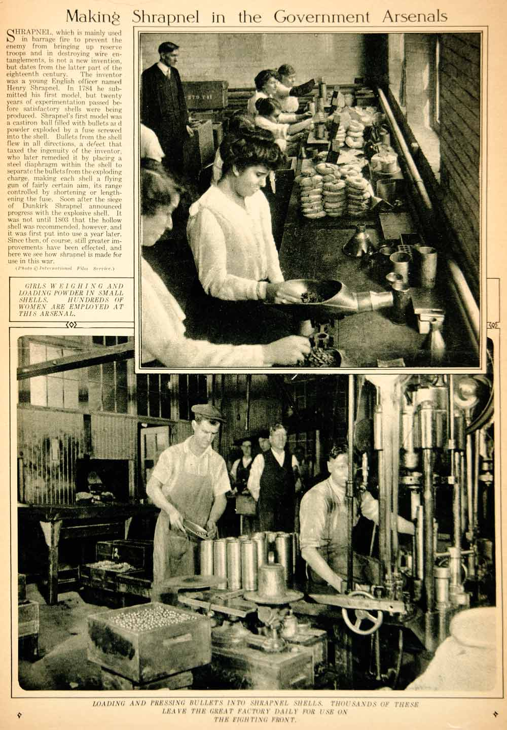 1917 Rotogravure World War I Shrapnel Factory Manufacture Women Workers YNY3