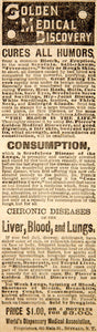 1887 Ad Dr. Pierce's Golden Medical Discovery Quackery Quack Medicine Cure YOA1