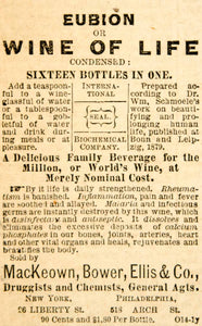 1887 Ad Eubion Wine of Life Medical Quackery Cure MacKeown Bower Ellis Co. YOA1