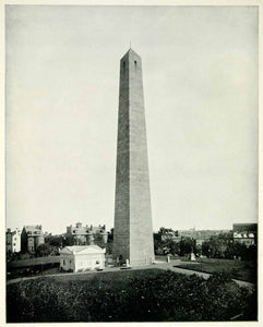 1894 Print Bunker Hill Battle Monument Granite Obelisk Charlestown YOC1