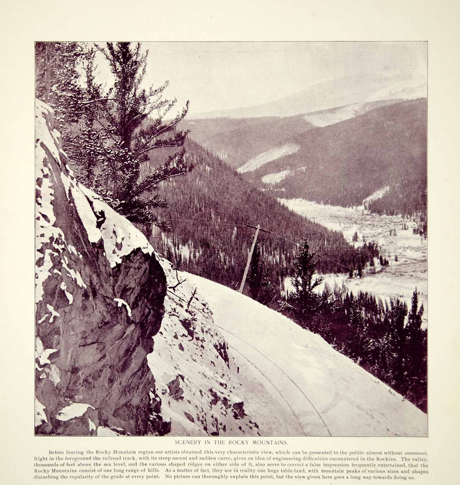 1894 Print Rocky Mountains Winter Landscape Railroad Tracks Historic View YOC2