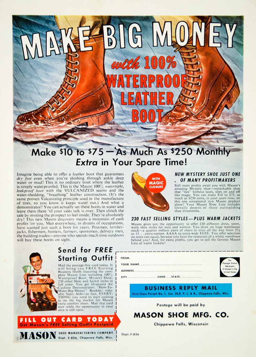 1959 Ad Mason Shoe Leather Boots Footwear Men Clothing Hunting Sportsman YOL1