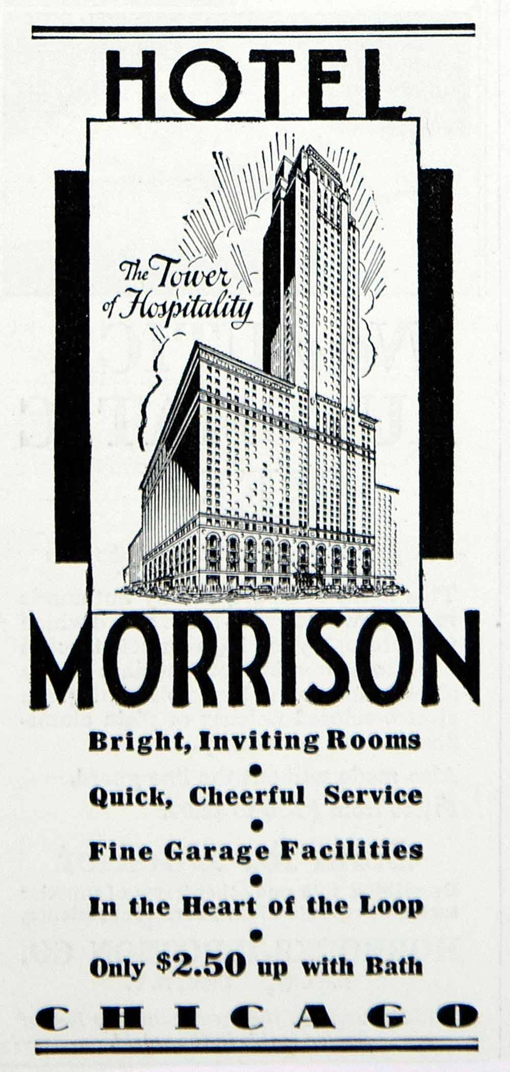 1934 Ad Hotel Morrison Chicago IL Travel Tourism Lodging Motel Resort YOL1