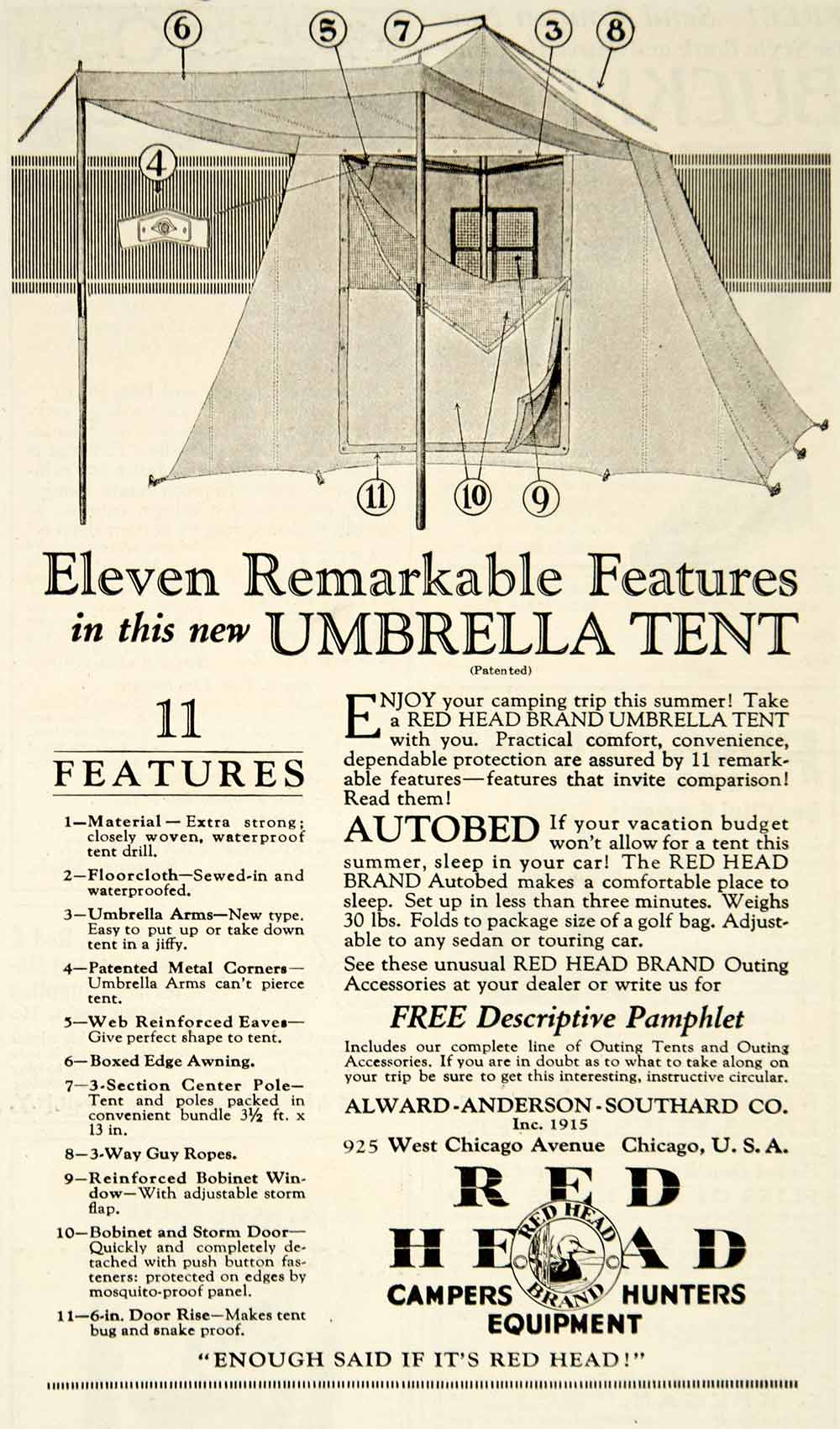 1925 Ad Red Head Umbrella Tent Camping Alward-Anderson-Southard Sporting YOR1
