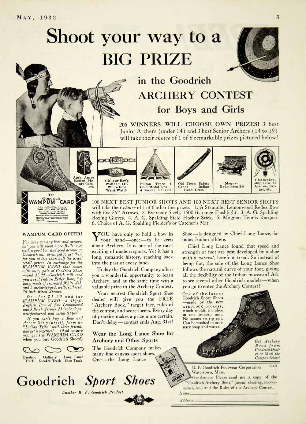 1932 Ad Goodrich Sport Shoes Archery Contest Arrow Boy Native American YOR2