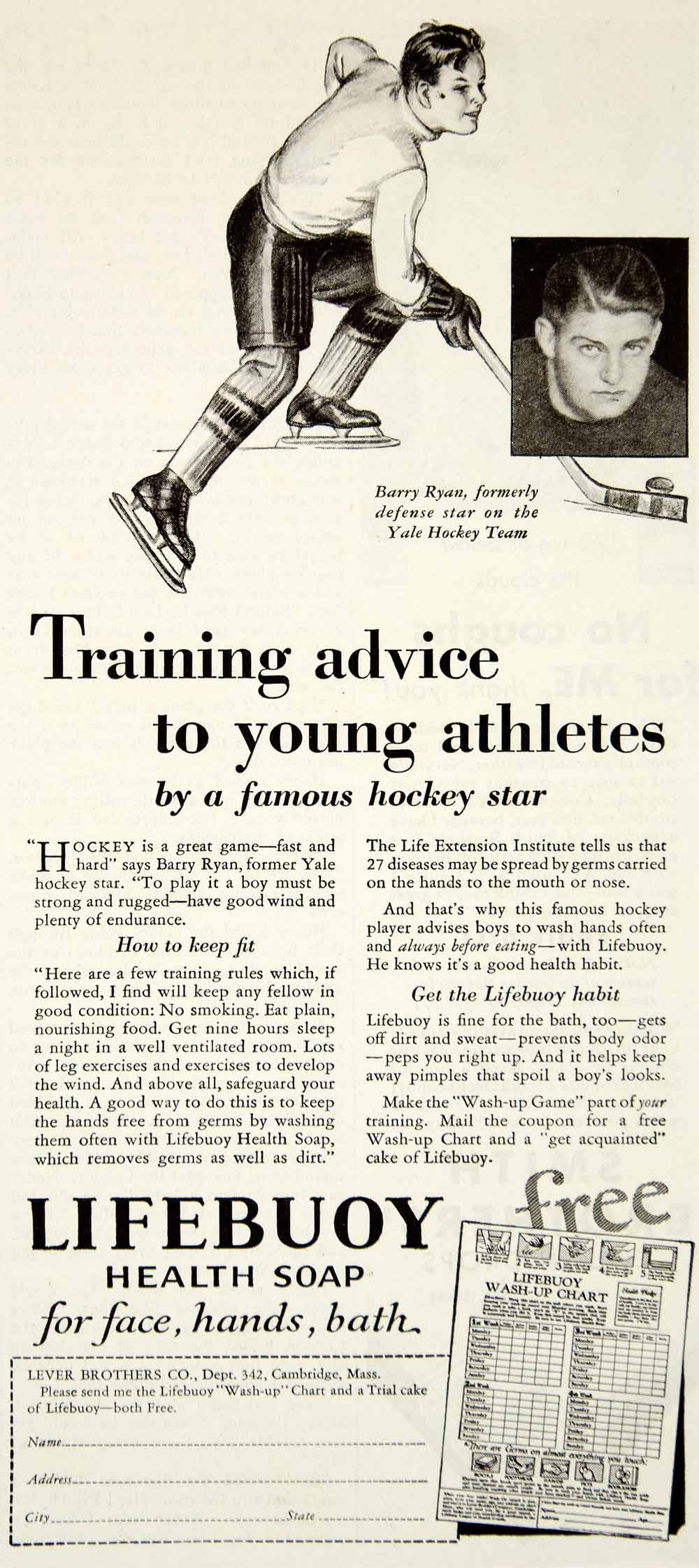 1931 Ad Lifebuoy Health Soap Barry Ryan Yale Hockey Lever Brothers YOR2