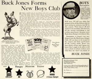 1932 Ad Buck Jones Ranger Club Cowboy Actor Chevron 729 Seventh Avenue Boys YOR2