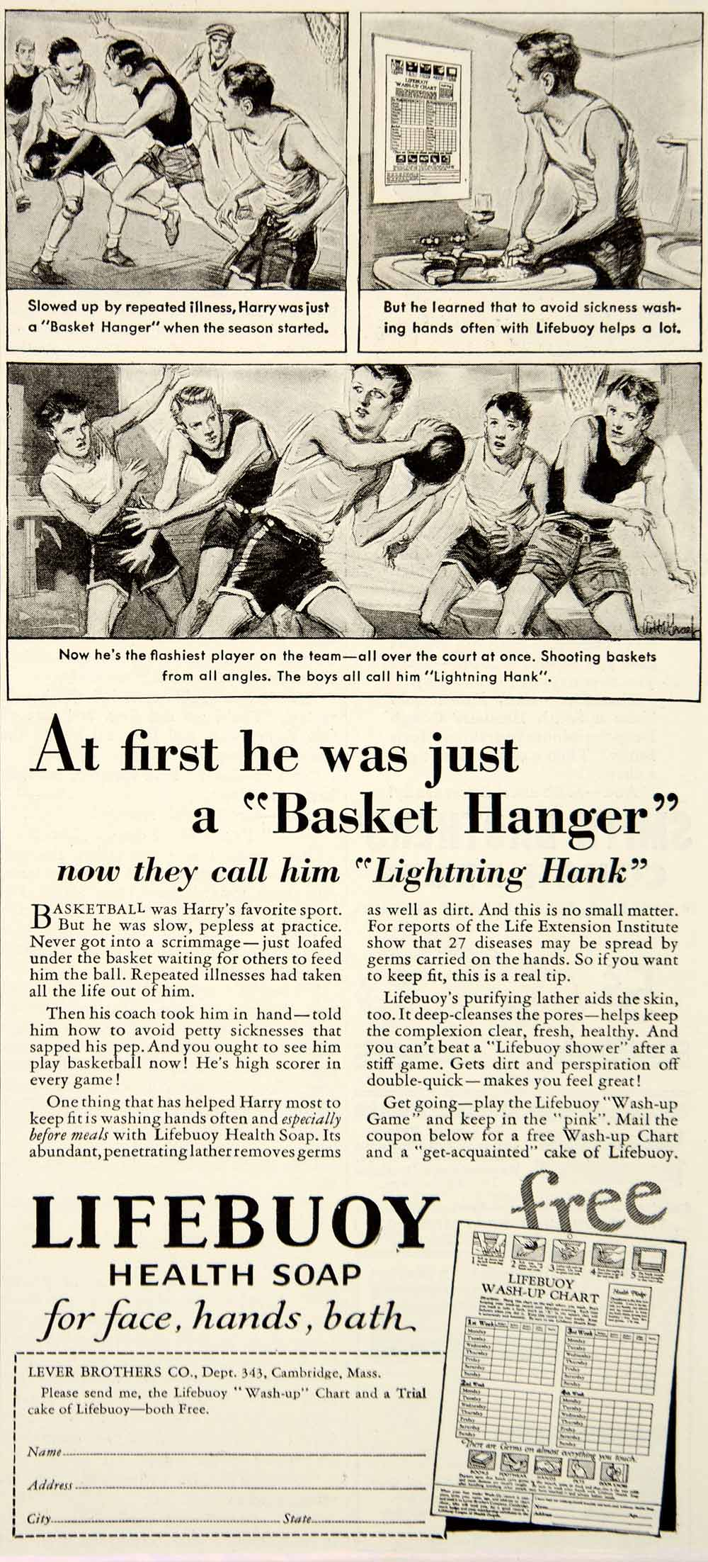 1932 Ad Lifebuoy Health Soap Lever Brothers Lightning Hank Basketball YOR2