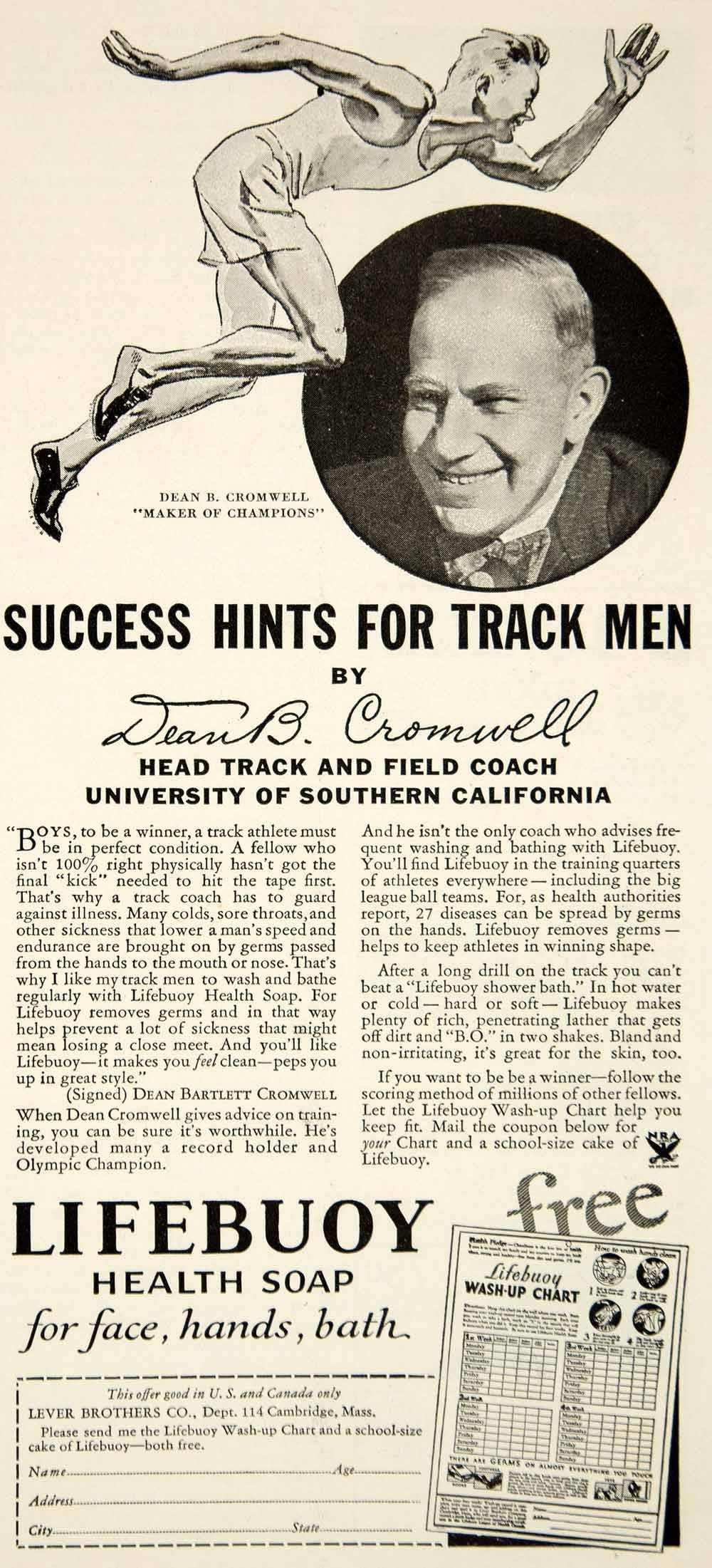 1934 Ad Lifebuoy Health Soap Lever Brothers Dean Bromwell Track Coach USC YOR2