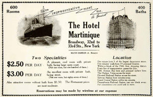 1917 Ad Hotel Martinique New York Ship Hospitality Broadway Sail Travel YOW1