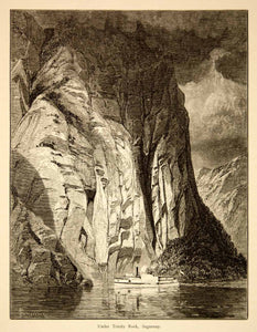 1874 Wood Engraving Trinity Rock Cliff Saguenay River Quebec Canada Antique YPA3