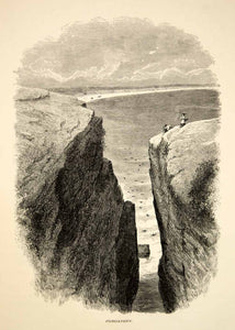 1894 Wood Engraving Purgatory Chasm Crevasse Middletown RI Atlantic Antique YPA4