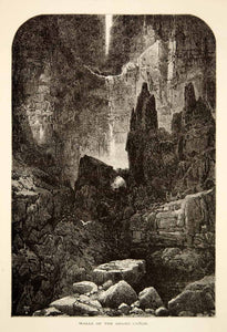 1894 Wood Engraving Grand Canyon Walls National Park Arizona Thomas Moran YPA4