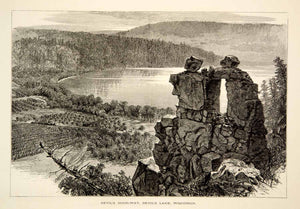1894 Wood Engraving Devils Lake State Park Doorway Wisconsin Landscape Art YPA4