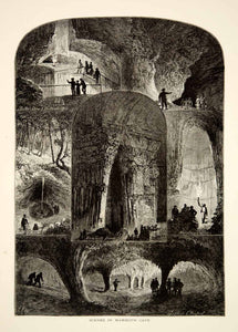 1894 Wood Engraving Mammoth Cave Interior Giants Coffin Lake Dome Antique YPA4
