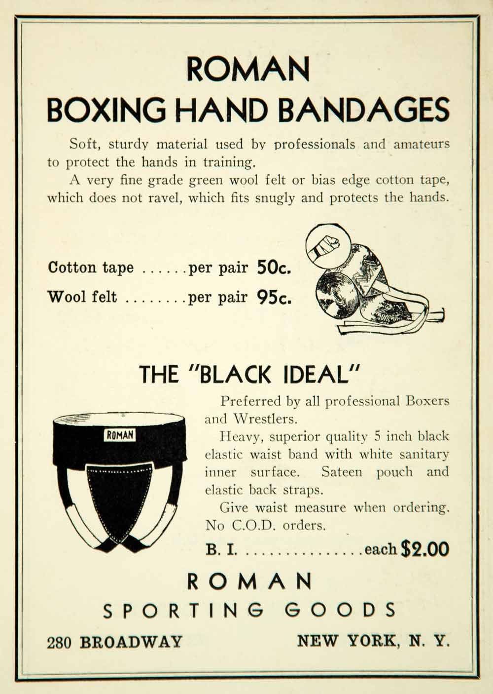 1936 Ad Roman Sporting Goods 280 Broadway NY Boxing Hand Bandages Black YPBR1