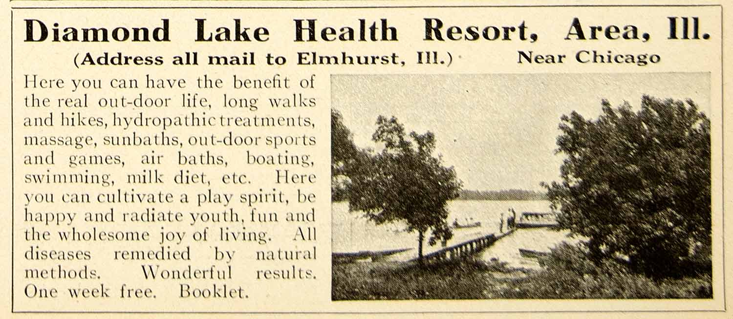 1922 Ad Diamond Lake Health Resort Elmhurst Illinois Medical Treatment YPC1