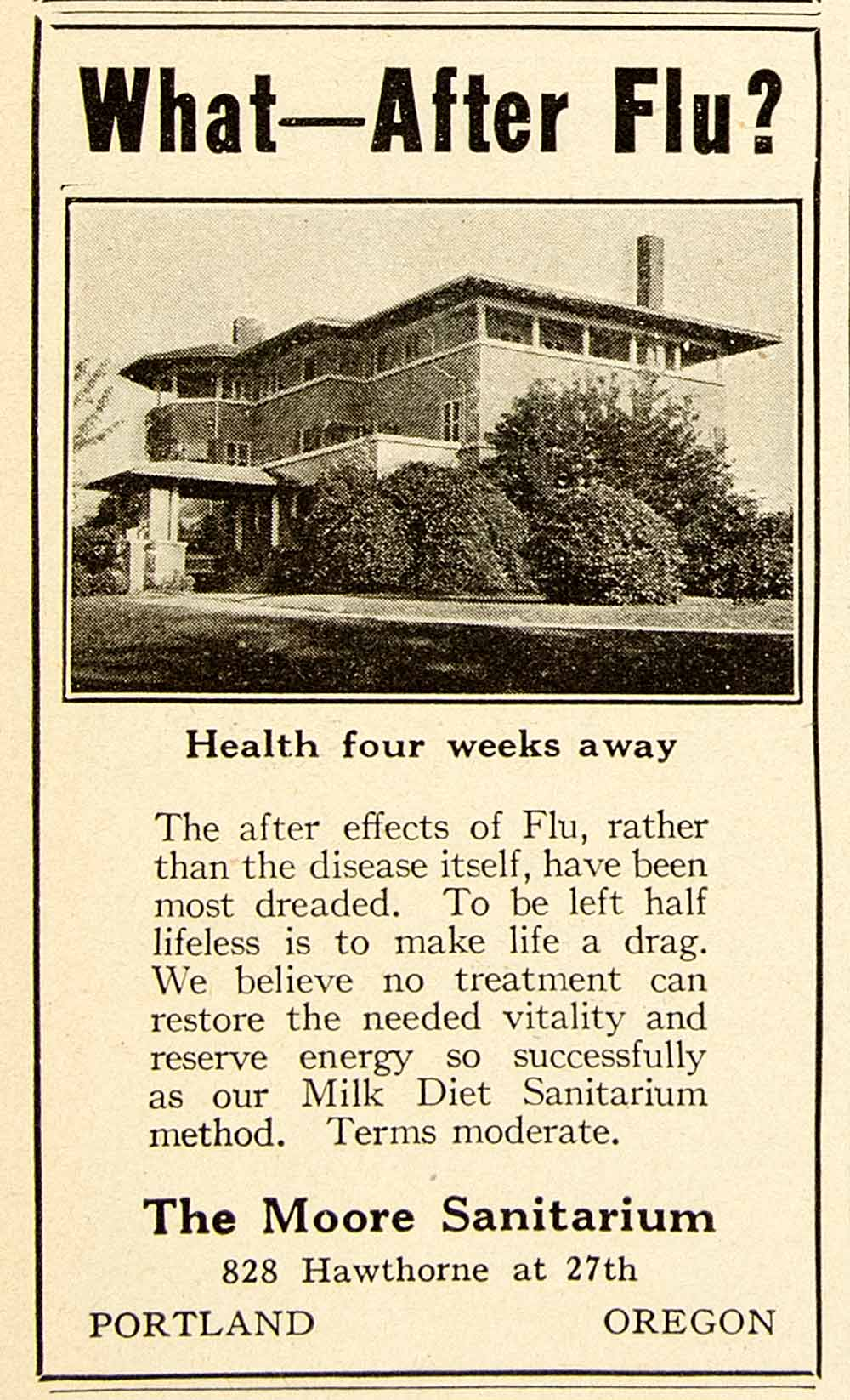 1922 Ad Moore Sanitarium 828 Hawthorne 27th St Portland Oregon Medical YPC1