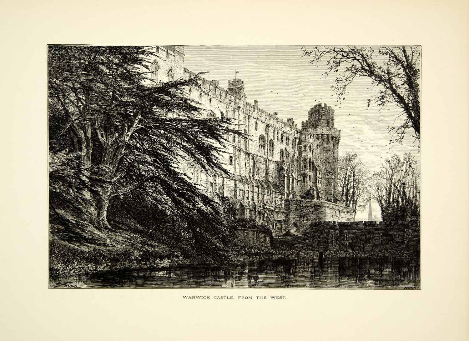 1876 Wood Engraving Warwick Castle England Architecture Historic Famous YPE1 - Period Paper
