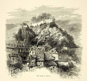 1877 Wood Engraving Chateau Fort De Lourdes France Hautes-Pyrenees Europe YPE2