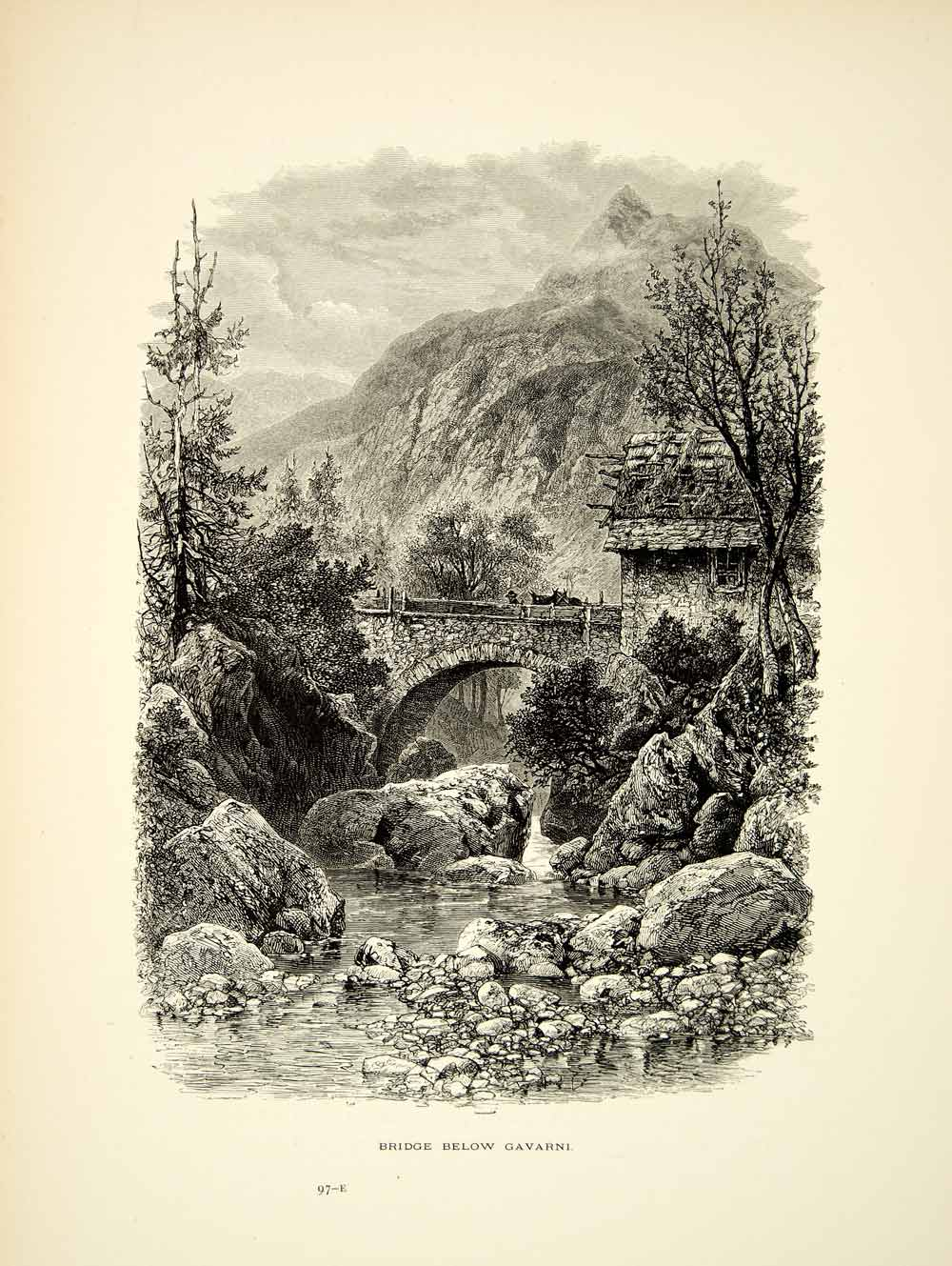 1877 Wood Engraving Napoleons Stone Bridge Garvarnie France Europe Scenic YPE2