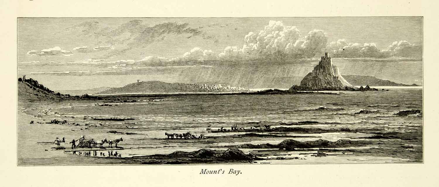 1878 Wood Engraving Art Mounts Bay English Channel UK Grey Rock Coast YPE3