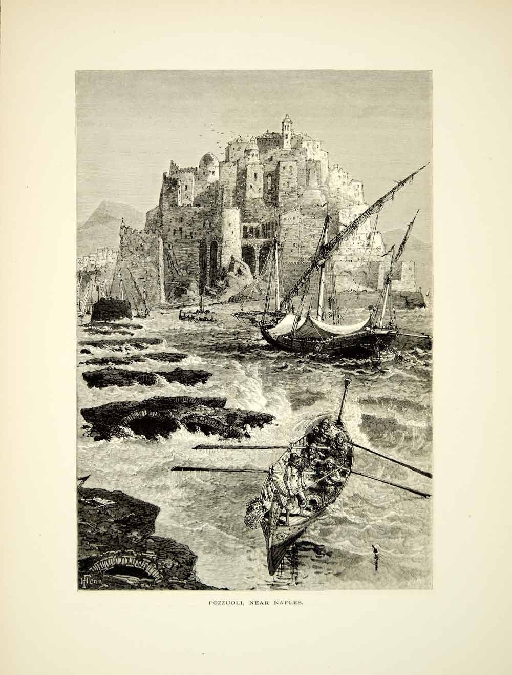 1878 Wood Engraving Harry Fenn Art Pozzouli City Italy Sailing Ships YPE3