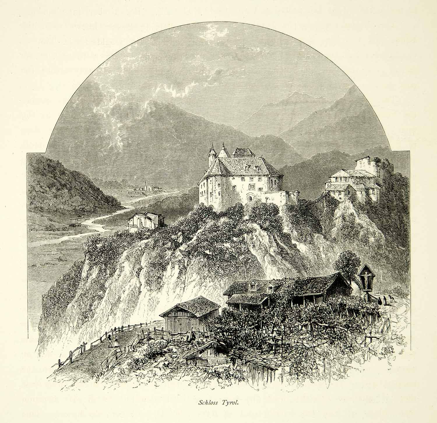 1878 Wood Engraving Schloss Castle Tirol Italy Europe Medieval Fortress YPE3