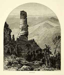 1878 Wood Engraving Art Germany Prebischkegel Sandstone Rock Elbe Mountains YPE3
