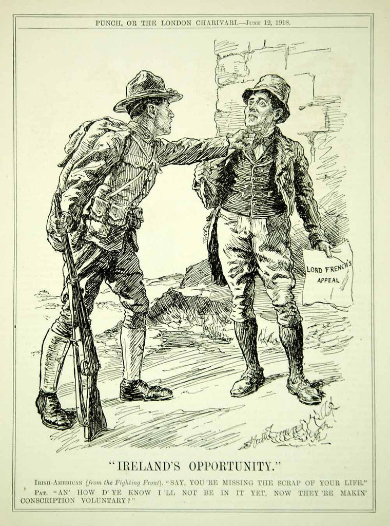 1918 engraving wwi cartoon punch american soldier ireland