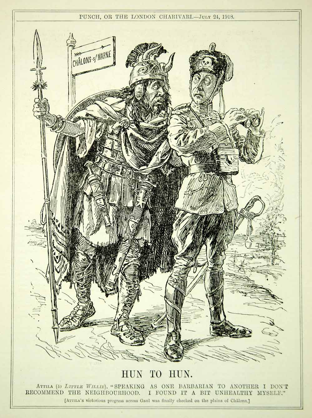 1918 Engraving WWI Cartoon PUNCH Attila the Hun Little Willie Chalons-sur-Marne