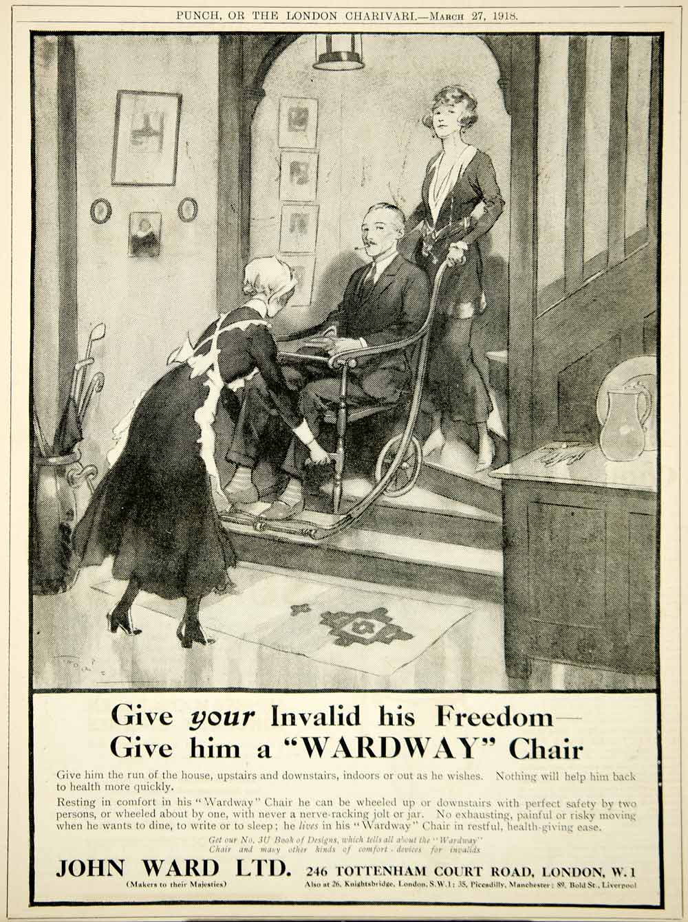 1918 Ad Antique Wardway Invalid Chair Wheelchair Stairs Disabled John Ward Ltd.