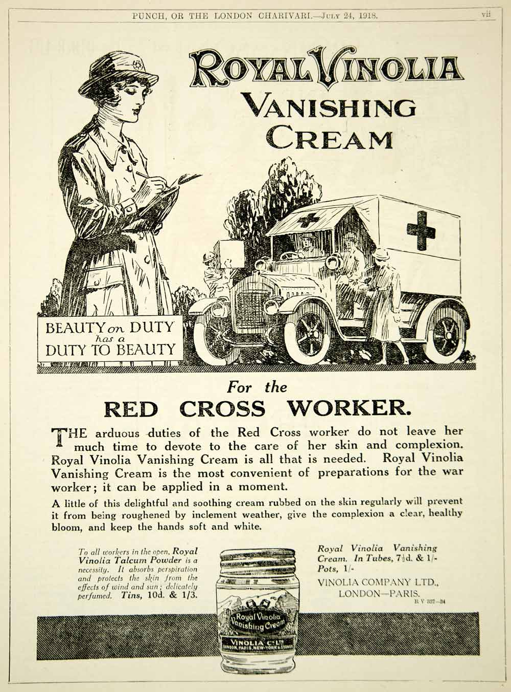 1918 Ad WWI Royal Vinolia Vanishing Cream Red Cross Worker Nurse Ambulance Truck