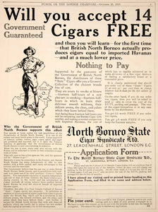 1916 Ad Vintage British North Borneo State Cigar Samples Smoking Tobacco Advert